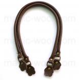 кожаные ручки для сумок коричневые 55см фигурный край