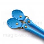 кожаные ручки для сумок голубые с пряжкой 50см сплит кожа