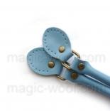 кожаные ручки для сумок светло голубые пряжкой 50см сплит кожа
