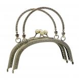 Рамочные замки, цепочки для сумок рамочный замок 16,5см с ручкой антик