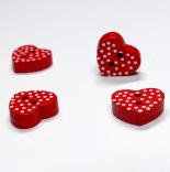 пуговицы декоративные 3D красное сердце горошек